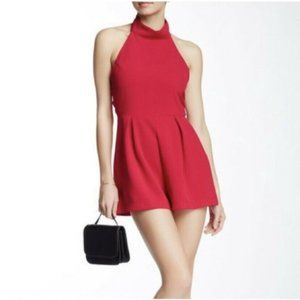 ASTR THE LABEL Red High Neck Halter Shorts Small